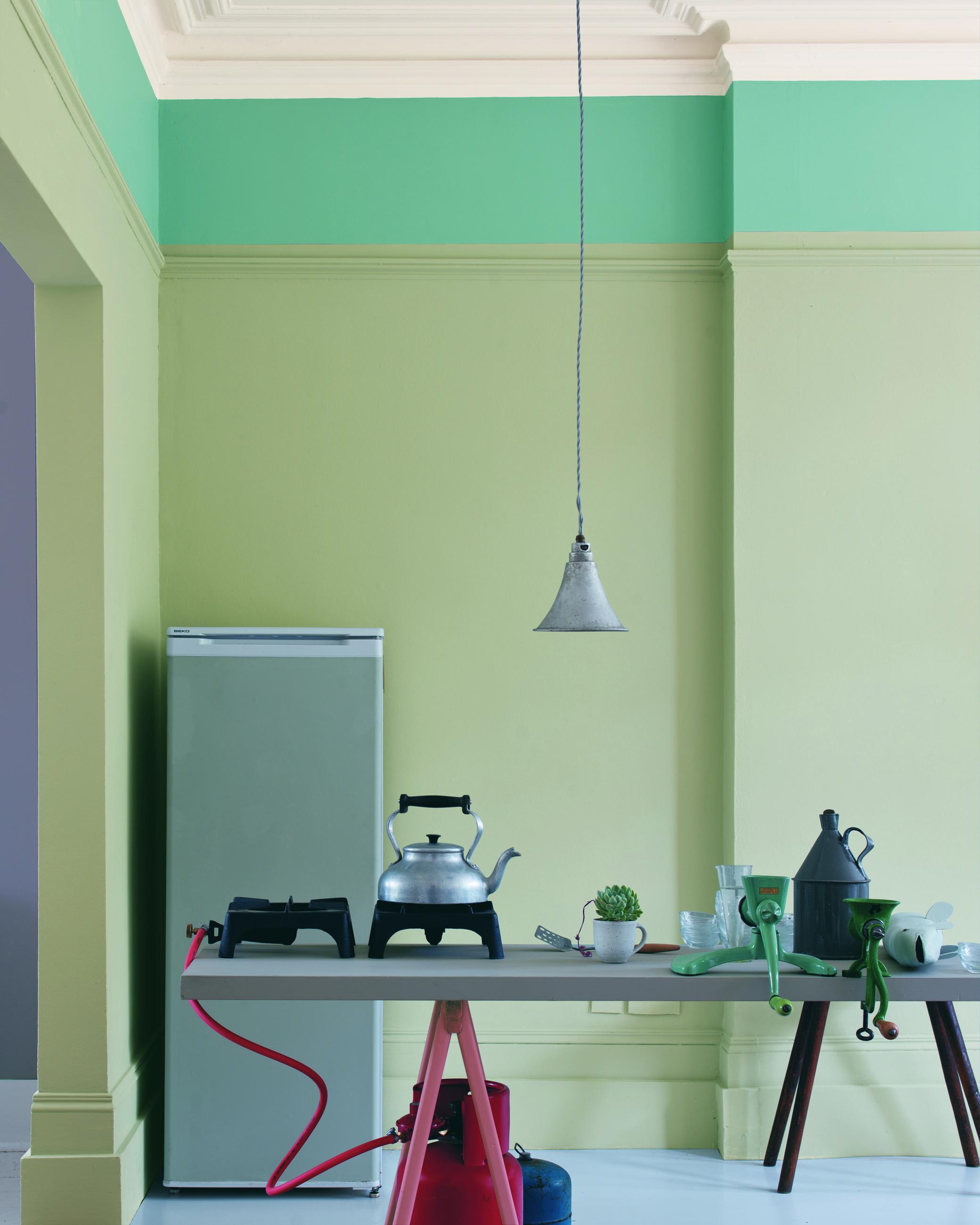 Olive Green Splashback Mizzle Kitchen Selects L