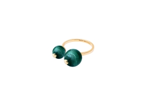 2 stone ring malachite