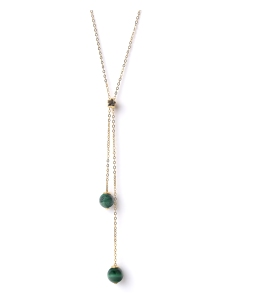 Long necklace malachite