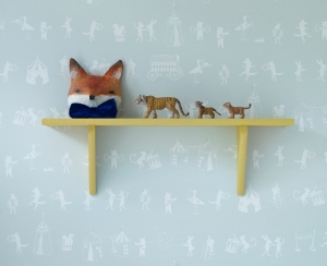Animal Parade Wallpaper in White on Mint Green Lifestyle_£70_lukuhome.com