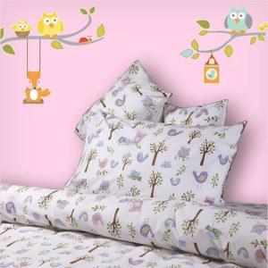 Children's 100% Cotton Percale Duvet Cover Sets - Owls