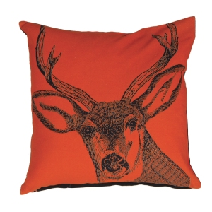 Out There Interiors - Stag Print Cushion Cover in Orange, £34
