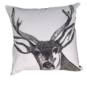 Out There Interiors - Stag Print Cushion Cover in White, £34