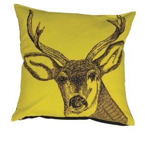 Out There Interiors - Stag Print Cushion Cover in yellow, £34