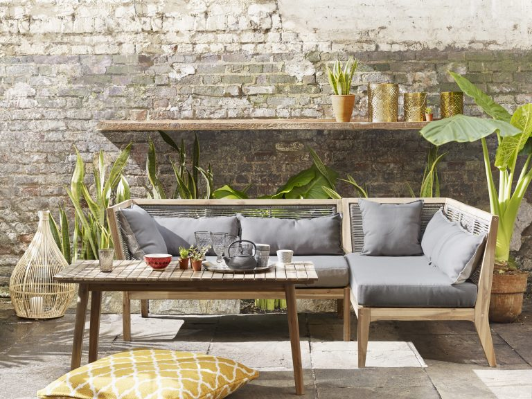 John Lewis Decoris bamboo lantern £80, matrix coffee table £229, miko floor cushion £70, matrix one arm sofa £599, cut out hurricane lantern £35