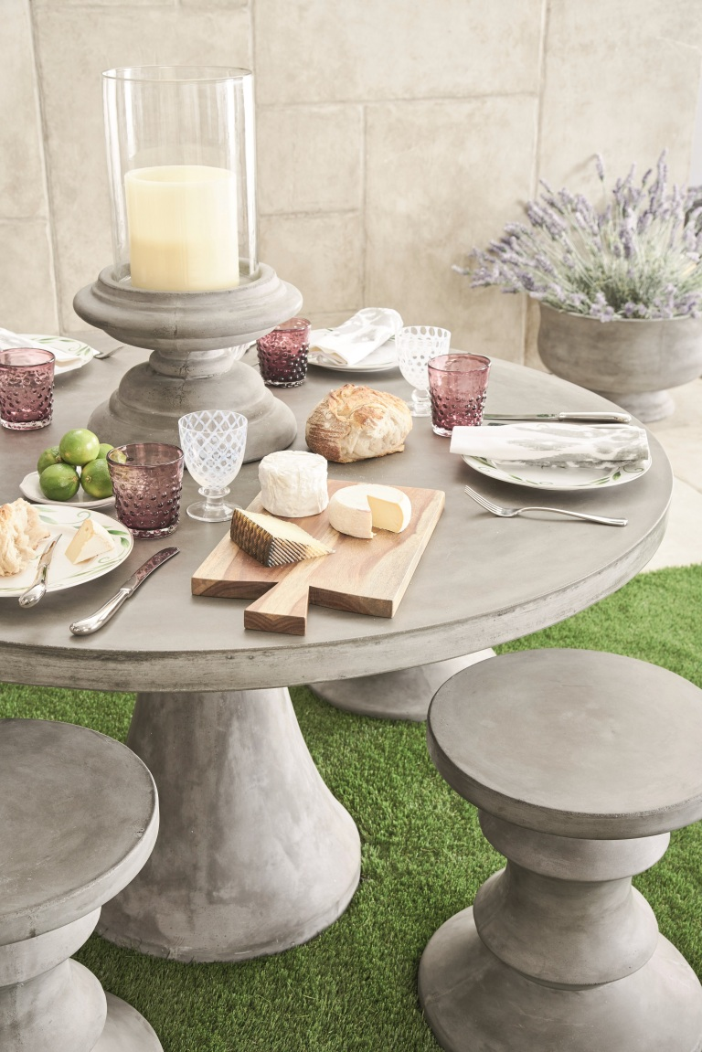 Petra Outdoor Range - round dining table and stool (close up), OKA