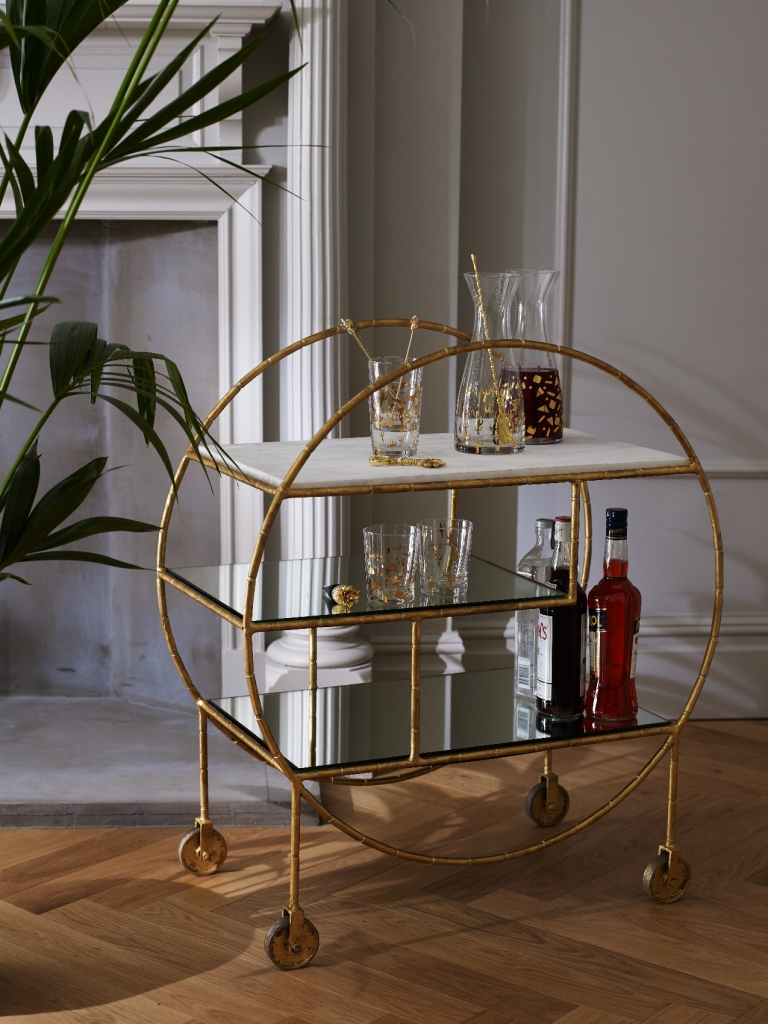 Bamboo Round Drinks Trolley £395