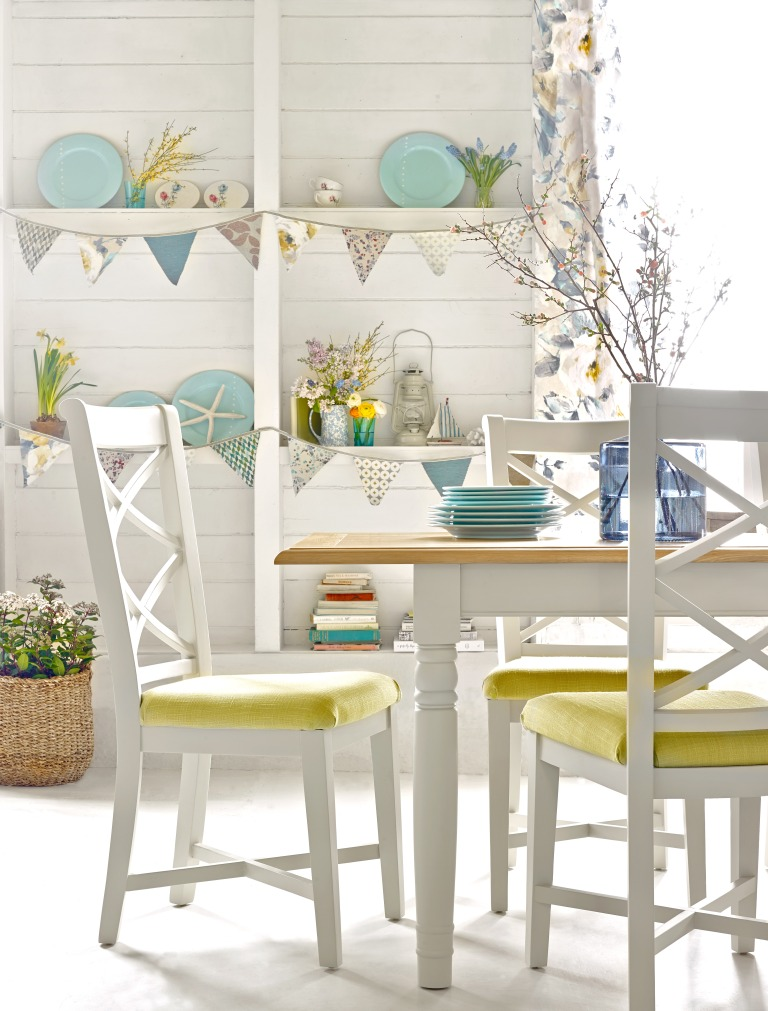 Harveys - Hartham Extending Dining Table in Cream from £499, Hartham Dining Chairs with Victoria Quince Seat Pads from £250 (per pair)