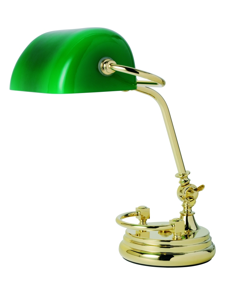 t2-016 Traditional Banker's Lamp, Green Shade & Rail_£925__Besselink & Jones