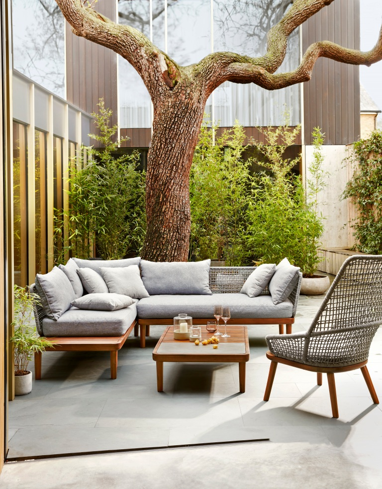 John Lewis Design Project No096 lounging chaise with table £699, One-arm sofa £650, Armchair £325, Super stone coffee table £200