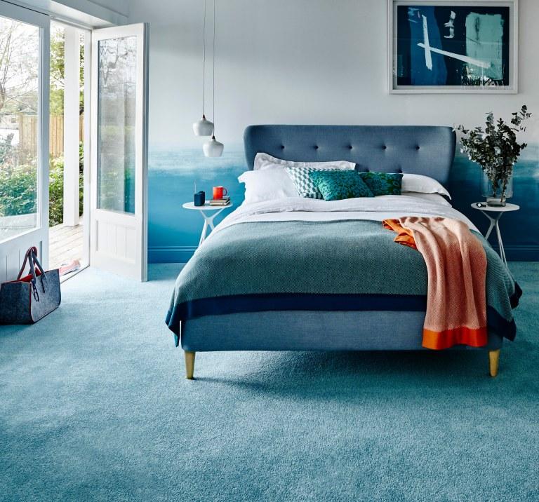 Carpetright Esme Bed £479.20 and Carousel twist plain carpet in aqua £15.99m2