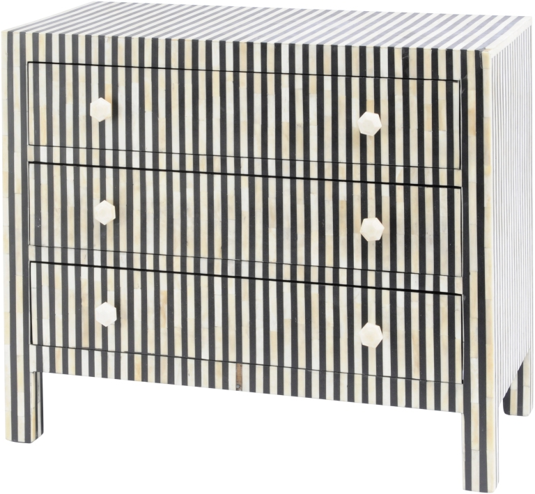 LIBRA l Bone inlay humbug 3 drawer chest, £1,872.50