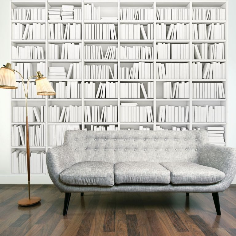 Library White Wall Mural, £60, Graham & Brown