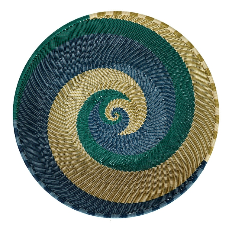 Mahatsara Round Recycled Thread Woven Tray Green